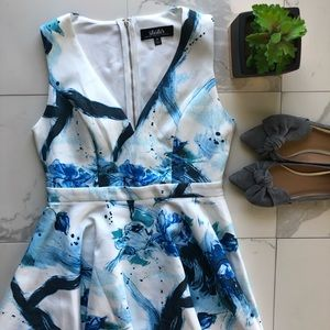 Lulu's Blue And White Floral A Line Dress
